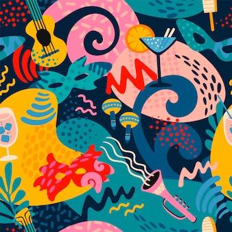Vector naadloos patroon met carnaval-voorwerpen en abstracte vormen.