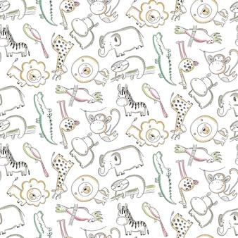 Vector naadloos patroon met cartoon afrikaanse dieren jungle planten en bomen