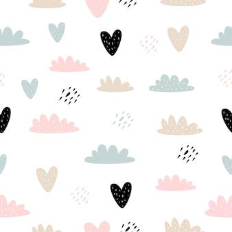 Vector naadloos patroon met cartoon schattige wolken harten voor kinderen