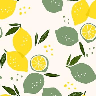 Vector naadloos patroon met citroenen en limoenen