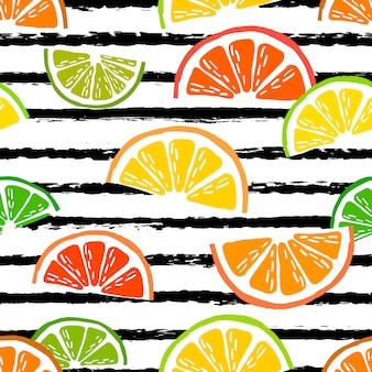 Vector naadloos patroon met citrusvruchtenplakken