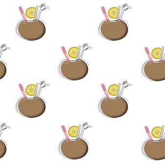 Vector naadloos patroon met cocktail in kokosnoot. flat, doodle stijl