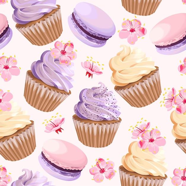 Vector naadloos patroon met cupcakes en bitterkoekjes