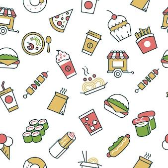 Vector naadloos patroon met de pictogrammen van de snel voedsellijn