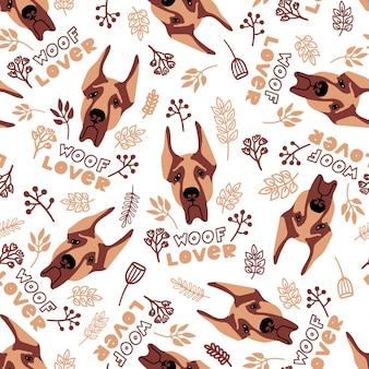Vector naadloos patroon met duitse dog planten en belettering woof lover op witte achtergrond