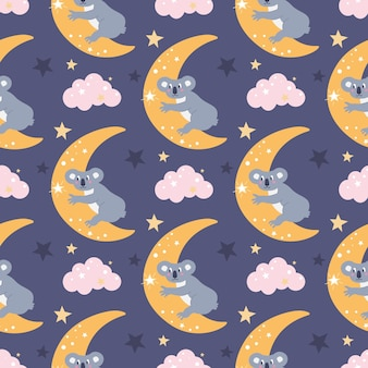 Vector naadloos patroon met een schattige koala op de maan die zich uitstrekt tot een ster tussen de wolken