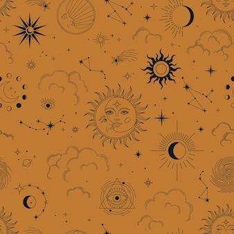 Vector naadloos patroon met esoterische mystieke elementen.
