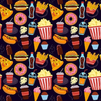 Vector naadloos patroon met fastfood illustratie in de hand getekende stijl