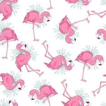 Vector naadloos patroon met flamingo's