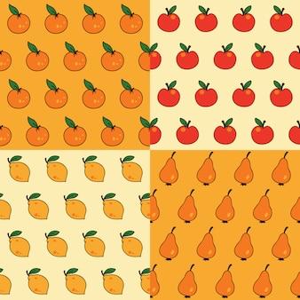 Vector naadloos patroon met fruit. kan worden gebruikt voor behang