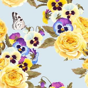 Vector naadloos patroon met gele rozen en viooltjes