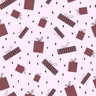 Vector naadloos patroon met geschenkdozen in cartoon-stijl