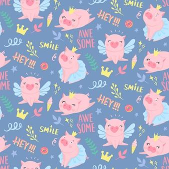 Vector naadloos patroon met grappige varkens. elementen voor nieuwjaarsontwerp. symbool van 2019 op de chinese kalender. varken achtergrond geïsoleerd op wit. tekenfilmdieren voor inpakpapier, kaarten, beddengoed.