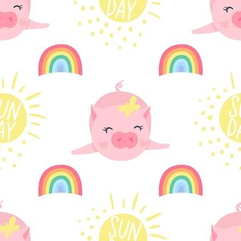 Vector naadloos patroon met grappige varkens. symbool van 2019 op de chinese kalender. varken achtergrond geïsoleerd op wit. tekenfilmdieren voor inpakpapier, kaarten, beddengoed. ontwerp voor kinderen.
