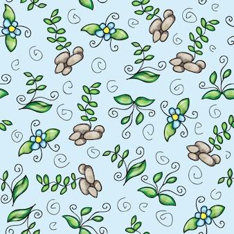 Vector naadloos patroon met gras - doodling ontwerp