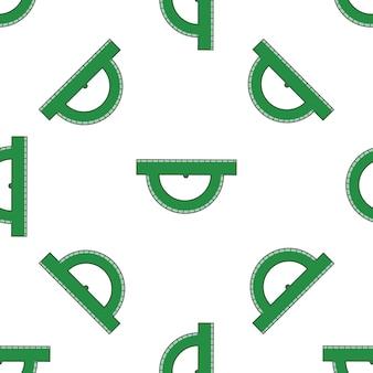 Vector naadloos patroon met groene heersers op een witte achtergrond in de stijl van doodles.
