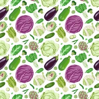 Vector naadloos patroon met groenten