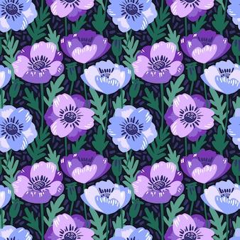 Vector naadloos patroon met hand die violette anemonbloemen trekt.