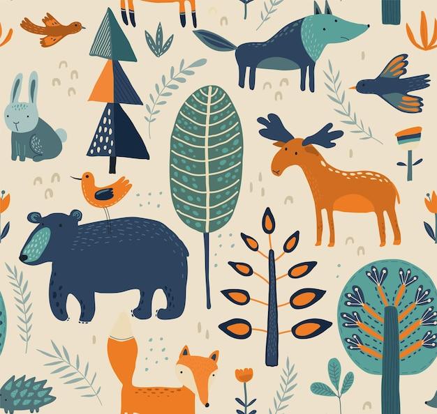 Vector naadloos patroon met hand getrokken bosdieren, bomen, bloemen en planten