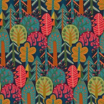 Vector naadloos patroon met hand getrokken bosherfstbomen