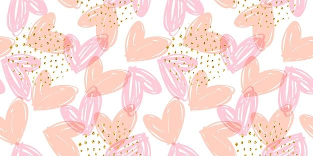 Vector naadloos patroon met hand getrokken harten.