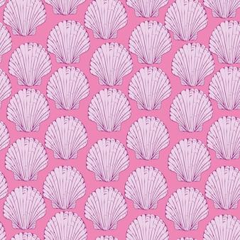 Vector naadloos patroon met hand getrokken kammossel shells.