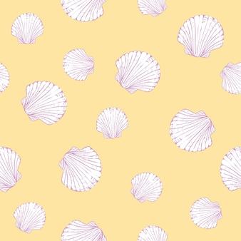 Vector naadloos patroon met hand getrokken kammosselschelpen