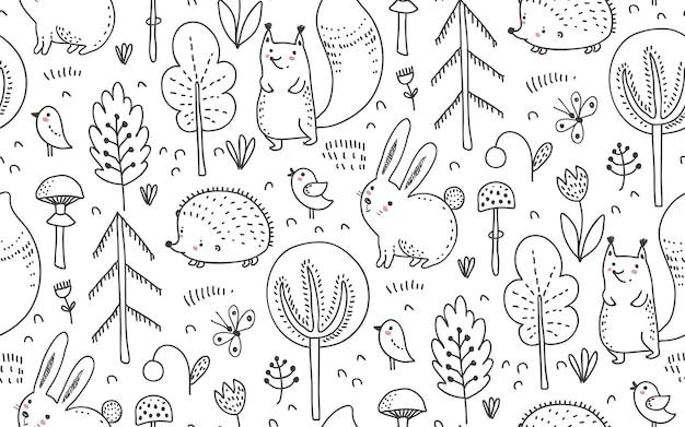 Vector naadloos patroon met hand getrokken wilde bosdieren bomen bloemenpaddestoelen