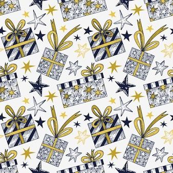 Vector naadloos patroon met handgetekende geschenken en sterren in een grafische stijl