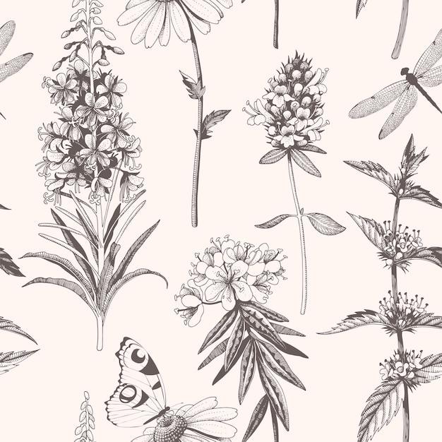 Vector naadloos patroon met handgetekende weidebloemen