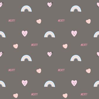 Vector naadloos patroon met harten en regenboog.