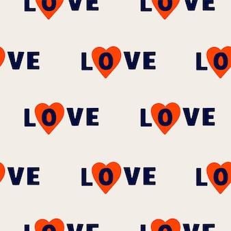 Vector naadloos patroon met het woord liefde en harten op pastel background