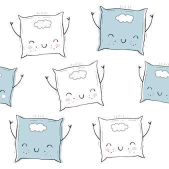 Vector naadloos patroon met hoofdkussen. scandinavische motieven. baby print. cartoon achtergrond.