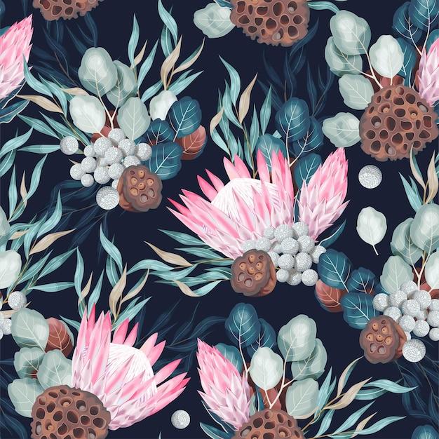 Vector naadloos patroon met hoog gedetailleerd protea en groen op donkere achtergrond