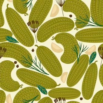 Vector naadloos patroon met ingeblikte komkommers