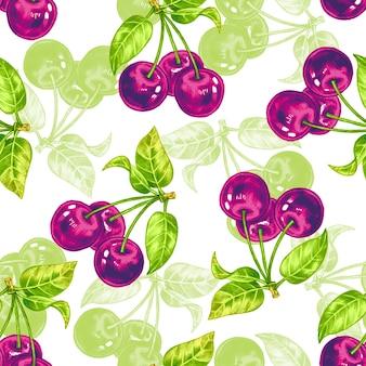Vector naadloos patroon met kersenbloesem.