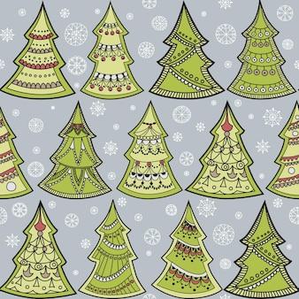 Vector naadloos patroon met kerstboom