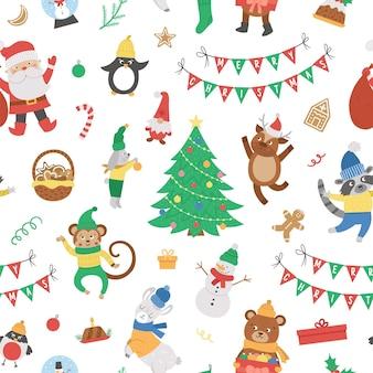 Vector naadloos patroon met kerstelementen, kerstman in rode hoed met zak, herten, dennenboom, cadeautjes. leuke grappige vlakke stijl nieuwjaar herhalende achtergrond.