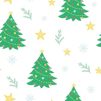 Vector naadloos patroon met kerstmiselementen. leuke eenvoudige grappige vlakke stijl nieuwjaar herhalende achtergrond met dennenboom, ster, sneeuwvlok.