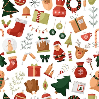 Vector naadloos patroon met kerstmispictogrammen. nieuwjaar achtergrond