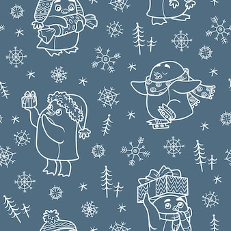 Vector naadloos patroon met kerstpinguïns op donkere achtergrond