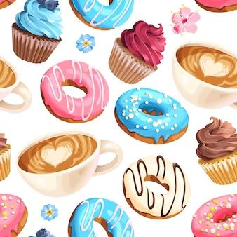 Vector naadloos patroon met koffiekopjes varicolored geglazuurde donuts en cupcakes