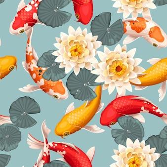 Vector naadloos patroon met koivissen en lotus
