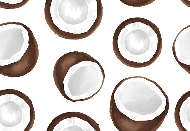 Vector naadloos patroon met kokosnoot. tropisch exotisch fruit