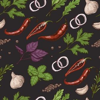 Vector naadloos patroon met kruiden en specerijen
