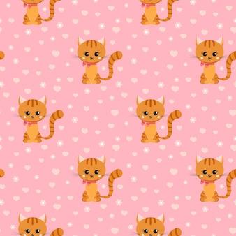 Vector naadloos patroon met lachende kleine gember gestreepte kat met roze strik op zijn nek.