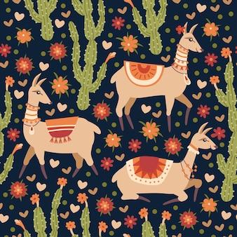 Vector naadloos patroon met lama en cactussen