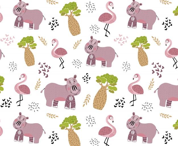 Vector naadloos patroon met leuk afrikaans dier