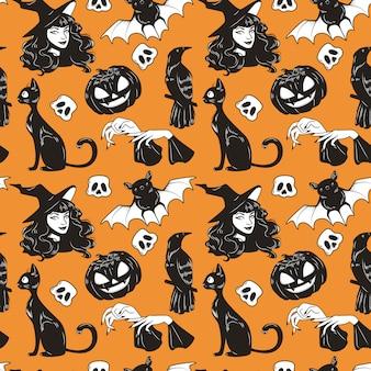 Vector naadloos patroon met leuke geplaatste de hand getrokken elementen van halloween