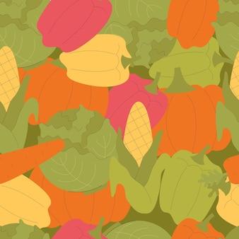 Vector naadloos patroon met leuke groenten. pompoen, peper, paprika, maïs, wortelen. herfstoogst, vegetarisch, vitamines, groenten. handgetekende vlakke afbeelding